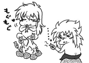 Defmita comiendo pescado